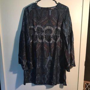 Boho bell sleeve dress or tunic size medium